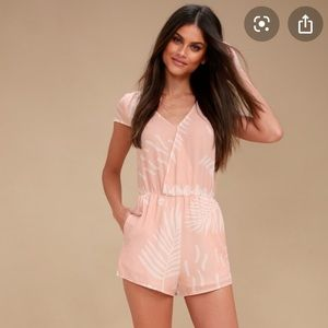 Lulus blush and white tie romper